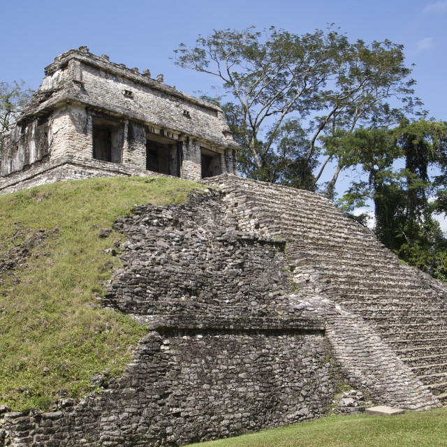 """Mexico, Chiapas, Palenque, Palenque Archaeological Park, Temple of the Count"" stock image"