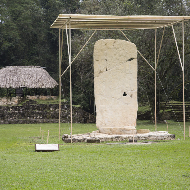 """Mexico, Chiapas, Bonampak, Mayan Archaeological Site, Stela I,"" stock image"