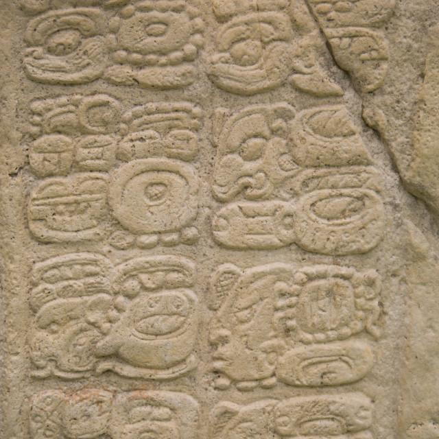 """Mexico, Chiapas, Yaxchilan, Mayan Archaeological Site, Stella 7, hieroglyphs"" stock image"