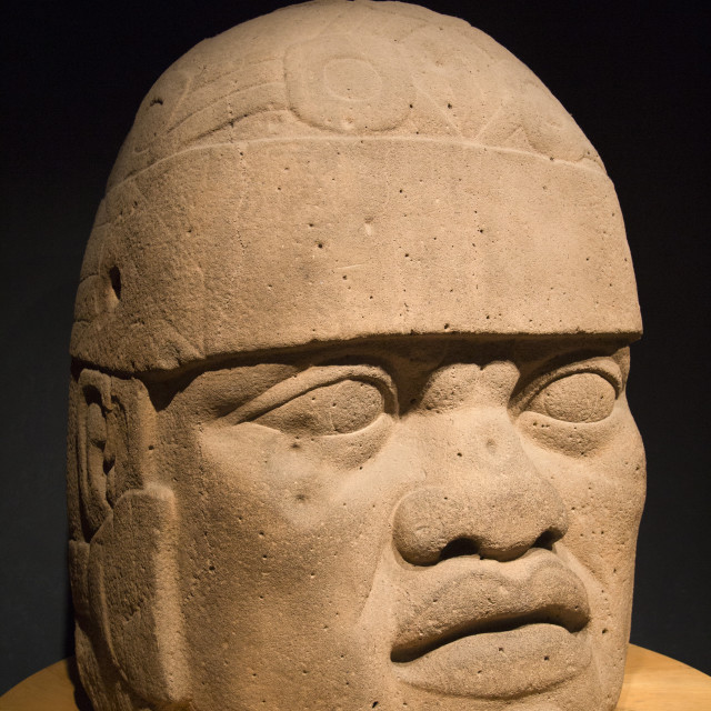 """""""Mexico, Mexico City, National Museum of Anthropology, Olmec Colossal Head"""" stock image"""