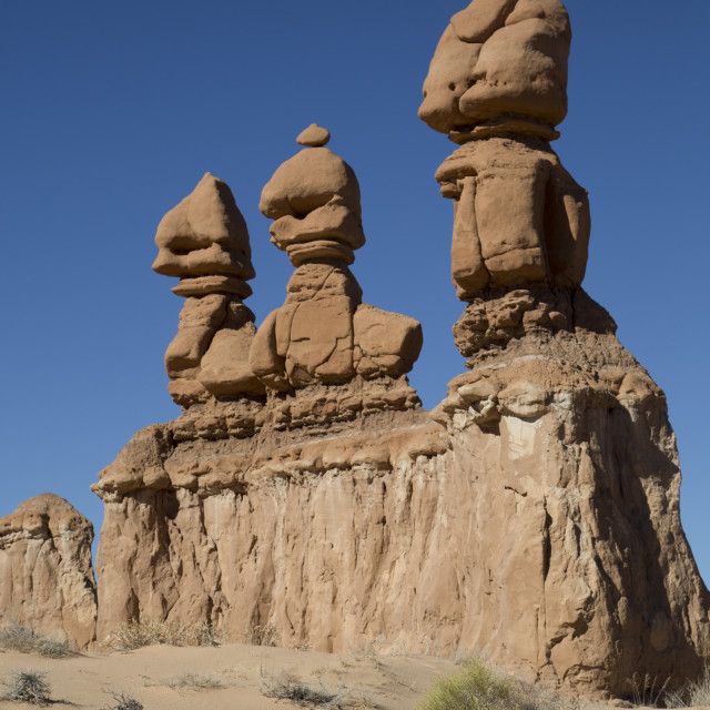 """Three Sisters, Goblin Valley State Park, near Hanksville, Utah, United States..."" stock image"