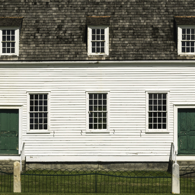 """""""The meeting house dating from about 1793, in Hancock Shaker Village, Hancock MA."""" stock image"""