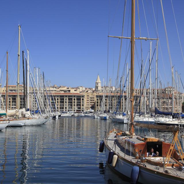 """Vieux Port (Old Port), Harbor, Marseille, Bouches du Rhone, Provence Alpes..."" stock image"
