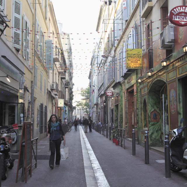 """""""Cours Julien, Hip District, Marseille, Bouches du Rhone, Provence Alpes Cote..."""" stock image"""