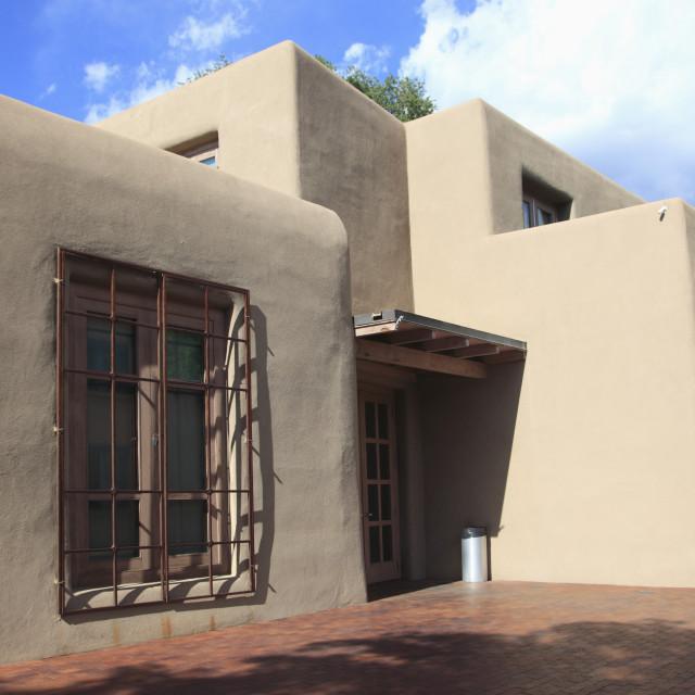 """Georgia O'Keeffe Museum, Adobe Architecture, Santa Fe, New Mexico, United..."" stock image"
