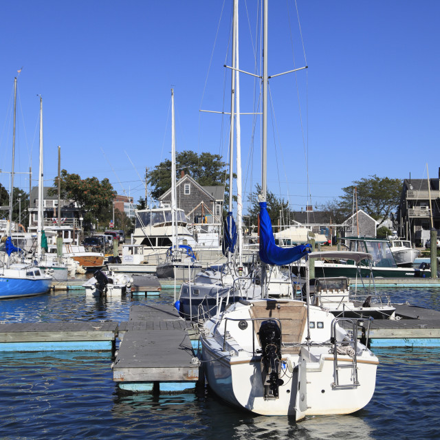 """""""Boats in port, Harbor, Hyannis, Cape Cod, Massachusetts, New England, United..."""" stock image"""