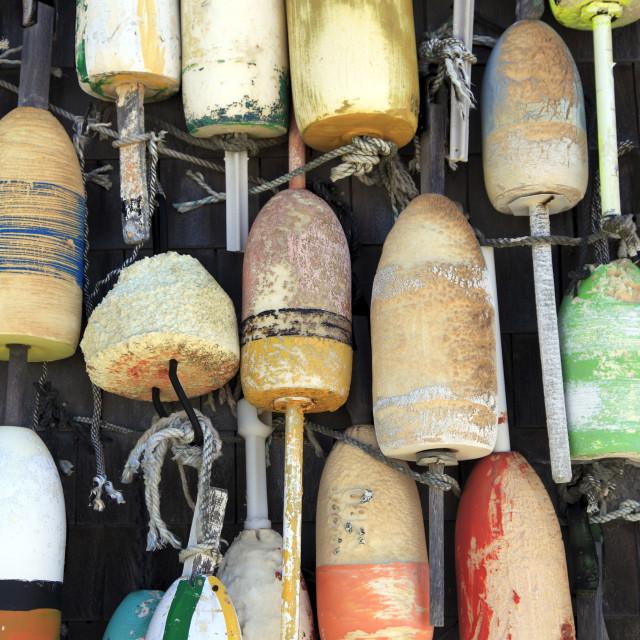 """Lobster buoys, Cape Cod National Seashore, Orleans, Cape Cod, Massachusetts,..."" stock image"