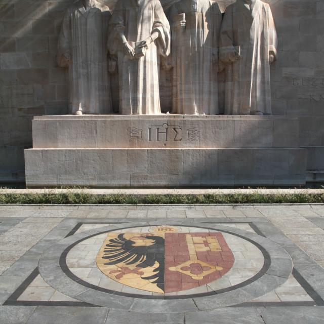 """""""Emblem of Geneva, Reformation Wall, Geneva, Switzerland, Europe"""" stock image"""