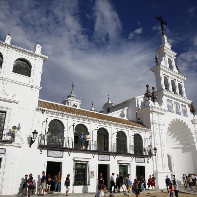 """""""El Rocio church, Hermitage of the Virgin of El Rocio, Andalucia, Spain, Europe"""" stock image"""