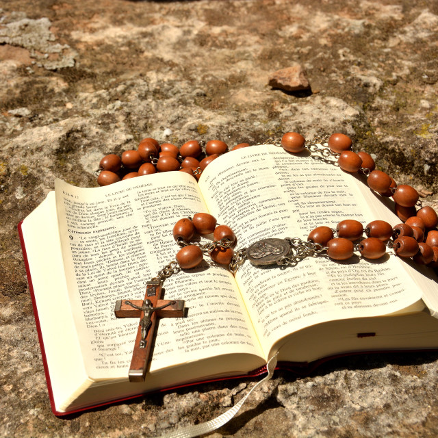 """Bible and rosary, Herault, Languedoc, France, Europe"" stock image"