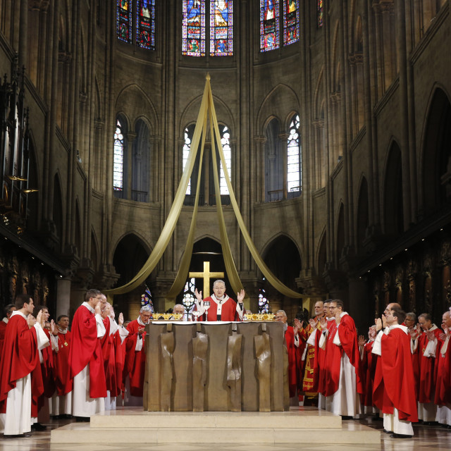 """Eucharist celebration, Catholic priest ordinations at Notre Dame cathedral,..."" stock image"