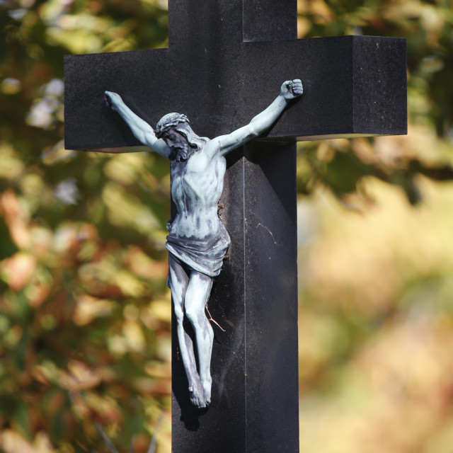 """Crucifix in Cemetery, Vienna, Austria, Europe"" stock image"