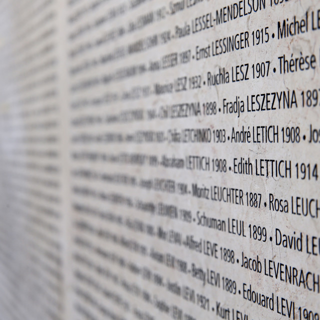 """""""The Wall of Names, The Shoah Memorial, Paris, France, Europe"""" stock image"""