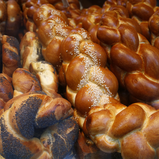 """Bagels in a Jewish bakery, Paris, France, Europe"" stock image"
