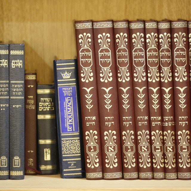 """Liturgical books in a Synagogue, Paris, France, Europe"" stock image"