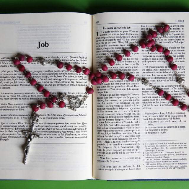 """Prayer beads over an open Bible, Eure, France, Europe"" stock image"