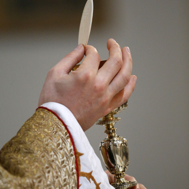 """Chalice and Host, Eucharist, Villemomble, Seine-Saint-Denis, France, Europe"" stock image"