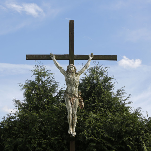 """Countryside crucifix, Somme, France, Europe"" stock image"