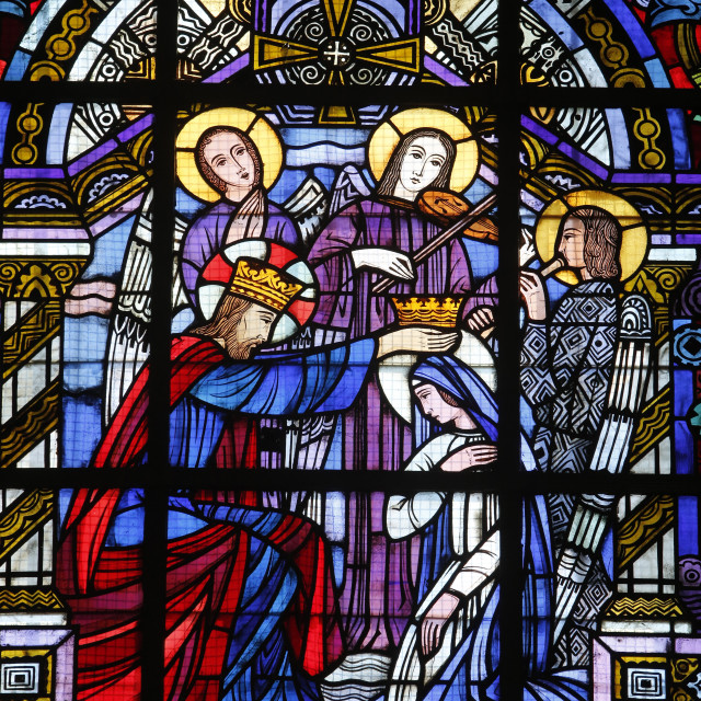 """Stained glass by Jacques Gruber, Notre Dame de Brebieres basilica, Albert,..."" stock image"
