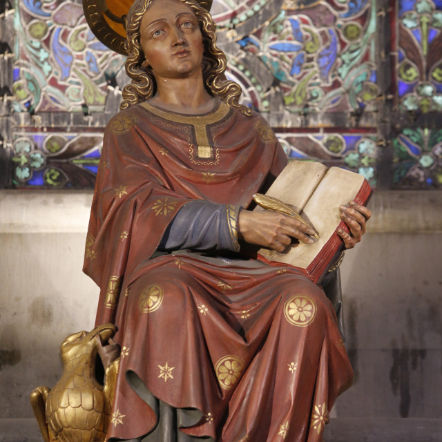 """""""St. John the Evangelist statue, Notre Dame de la Treille Cathedral, Lille,..."""" stock image"""