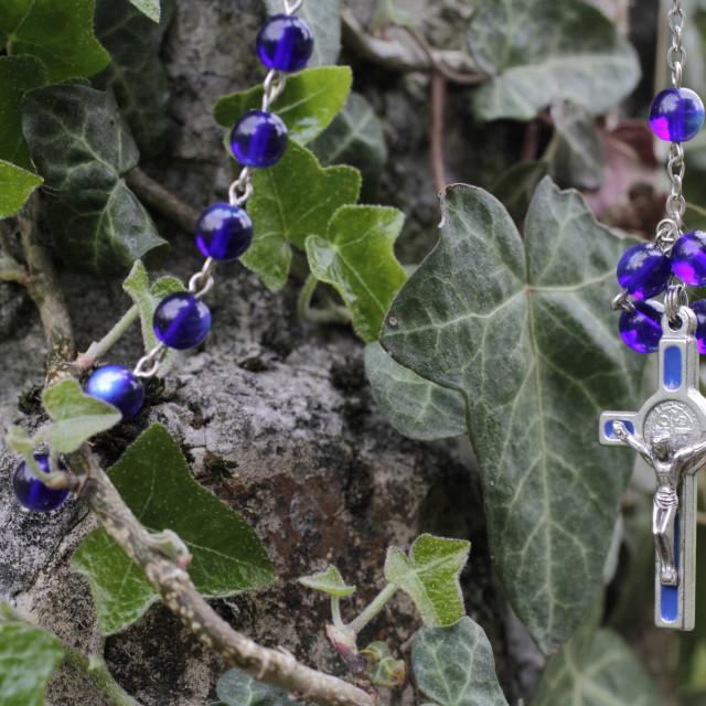 """Rosary, St. Gervais-les-Bains, Haute-Savoie, France, Europe"" stock image"