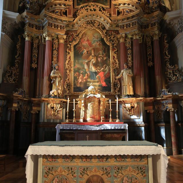 """Altar, St. Nicolas de Veroce church, Haute-Savoie, France, Europe"" stock image"