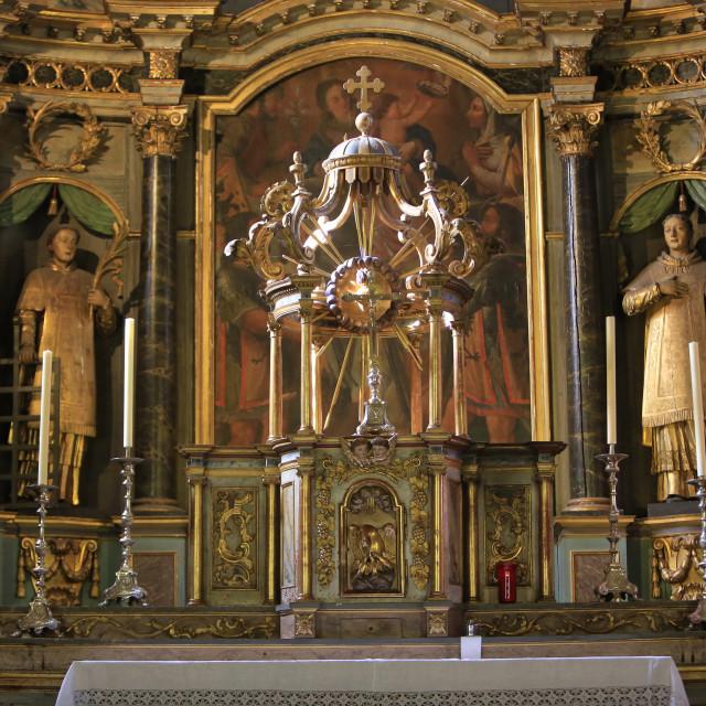 """Altar, St.-Gervais-les-Bains Church, Haute Savoie, France, Europe"" stock image"