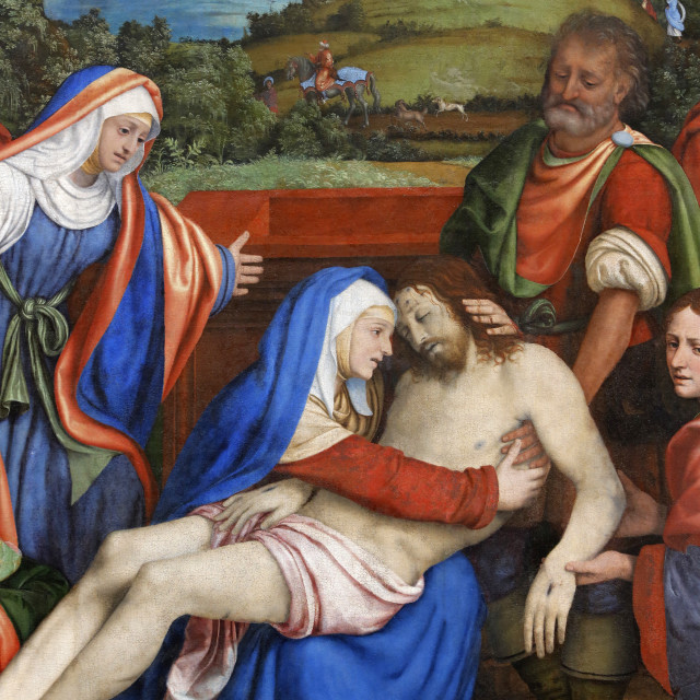 """The Lamentation over the Christ's death, by Andrea di Bartolo, painted in..."" stock image"