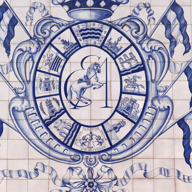 """Blazon of the Royal Andalusian School of Equestrian Art, Jerez, Andalucia,..."" stock image"