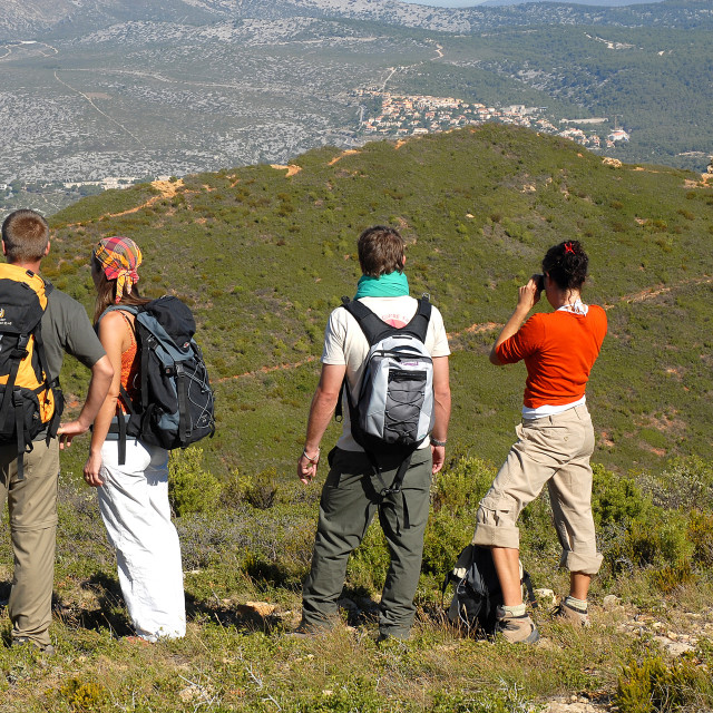 """Group of people trekking, Cassis, Bouches du Rhone, Provence, France, Europe"" stock image"