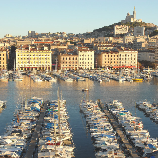 """Old harbour of Marseille, Bouches du Rhone, Provence, France, Mediterranean,..."" stock image"