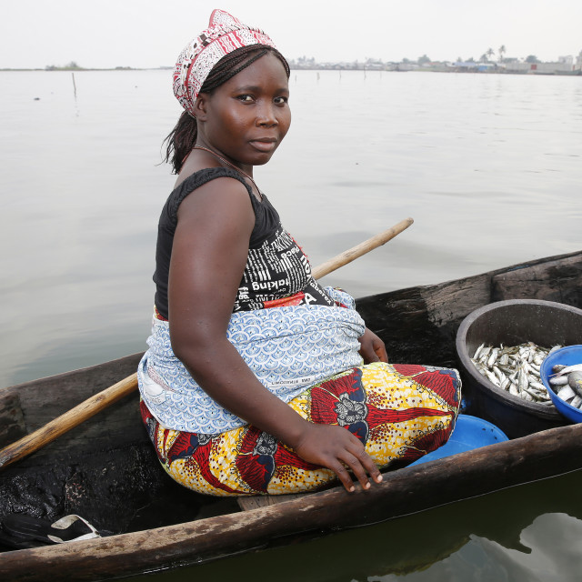"""""""Fish seller on boat"""" stock image"""