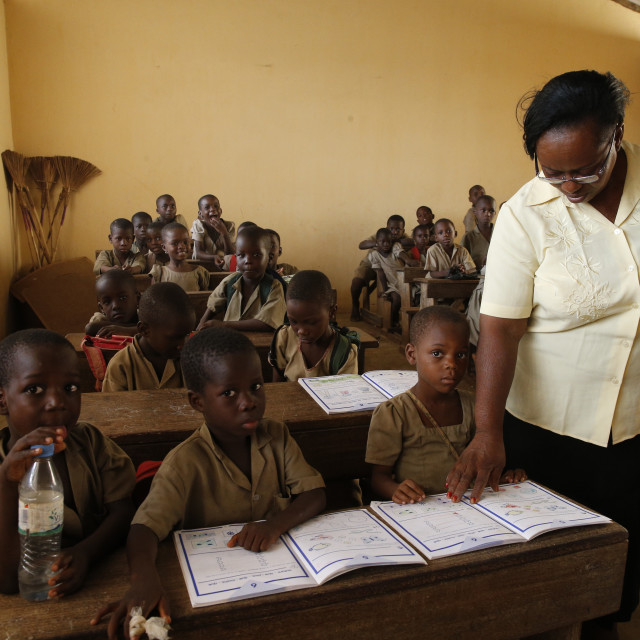 """African primary school. Pupils in a classroom."" stock image"