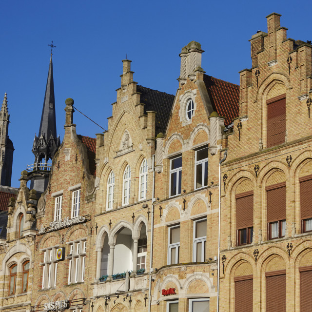 """""""Cathedral spire and Flemish houses in Ypres"""" stock image"""