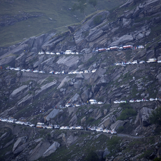 """On Rohtang Pass road, traffic jam at 5 in the morning, close to Manali, road..."" stock image"