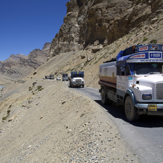 """Climbing to Pang, the big loops of Himalaya highway, along Tsarab river..."" stock image"