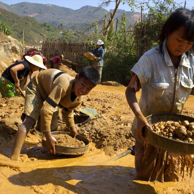 """Boys searching for ruby stones in Mogok mining sites, Myanmar (Burma), Asia"" stock image"