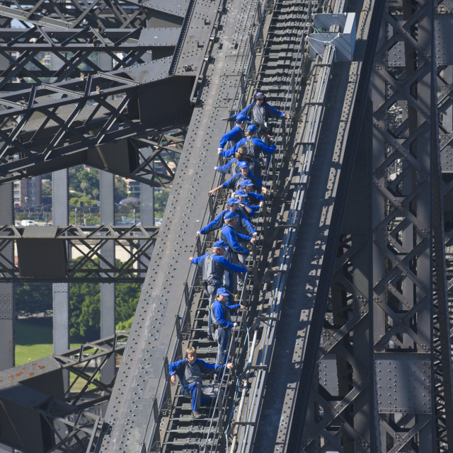 """Tourists climbing on the Sydney harbour bridge, Sydney, New South Wales,..."" stock image"