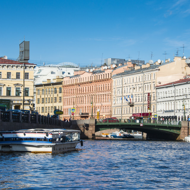 """""""Tourist boat on a water channel in the center of St. Petersburg, Russia, Europe"""" stock image"""