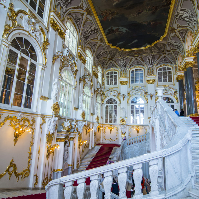 """Jordan main staircase in the Hermitage (Winter Palace), UNESCO World Heritage..."" stock image"