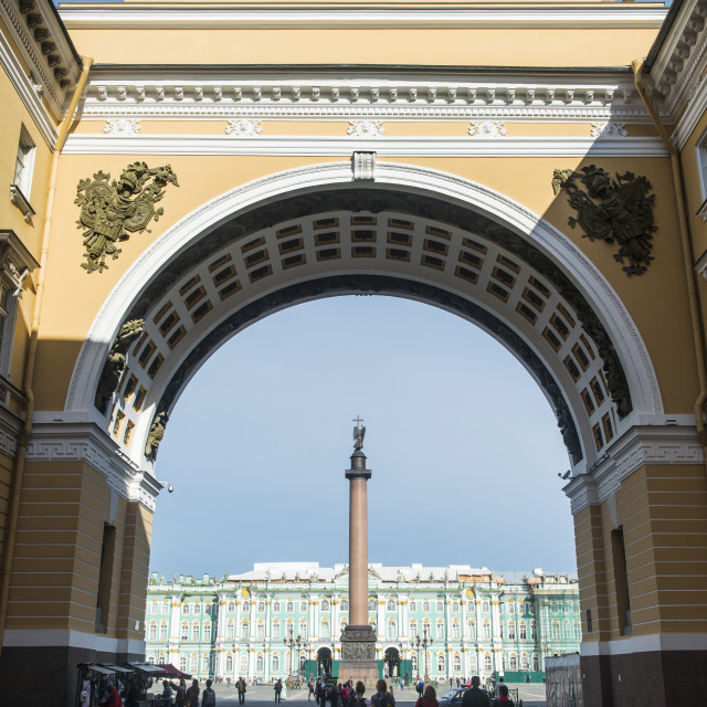 """Palace Square with the Alexander Column in front of the Hermitage (Winter..."" stock image"