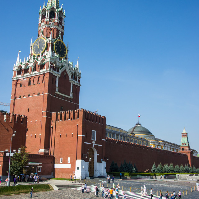 """Tower of the Kremlin on Red Square, UNESCO World Heritage Site, Moscow,..."" stock image"