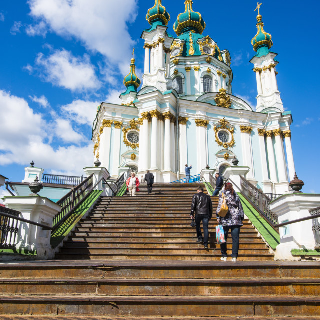 """St. Andrews church in Kiev, Ukraine, Europe"" stock image"