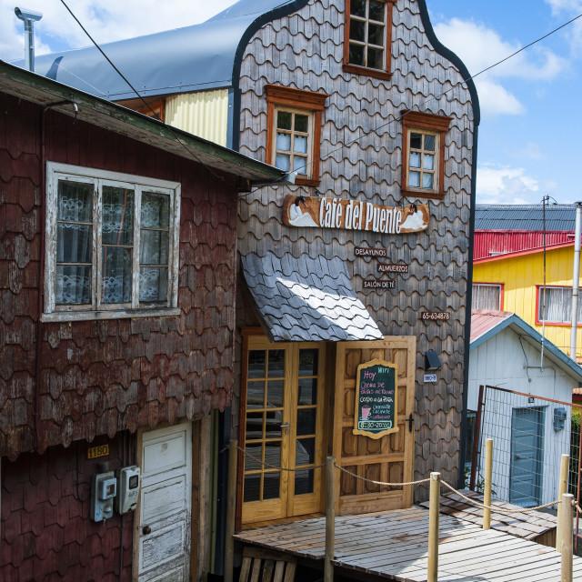 """Shingle house in Castro, Chiloe, Chile, South America"" stock image"