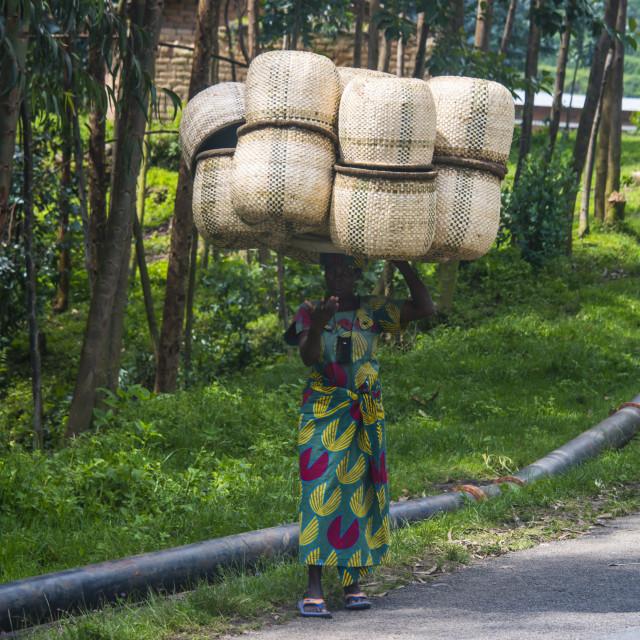 """Woman carrying giant baskets, Rwanda, Africa"" stock image"