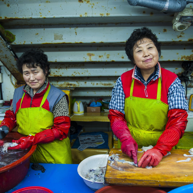 """Women selling fish at the modern fish market in Busan, South Korea, Asia"" stock image"