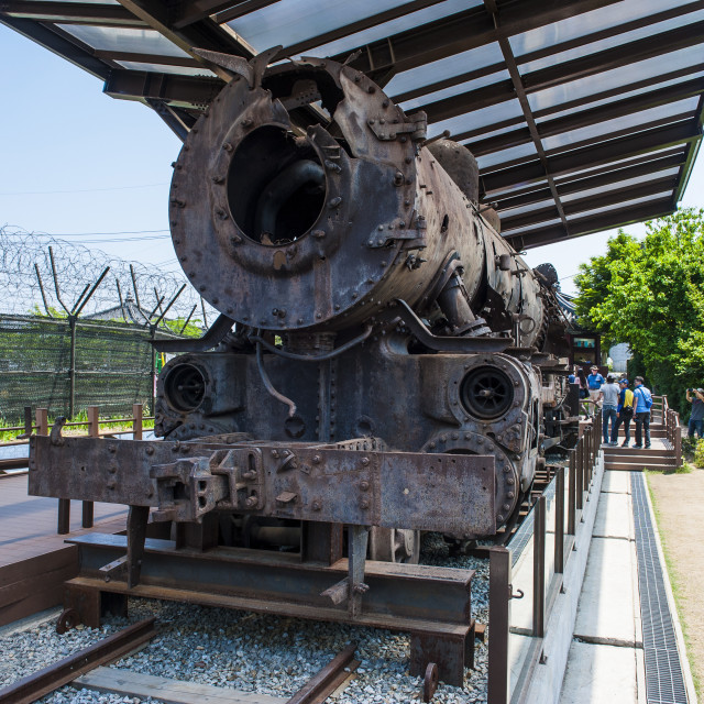 """""""Rusty train at Imjingak, the high security border between South and North..."""" stock image"""