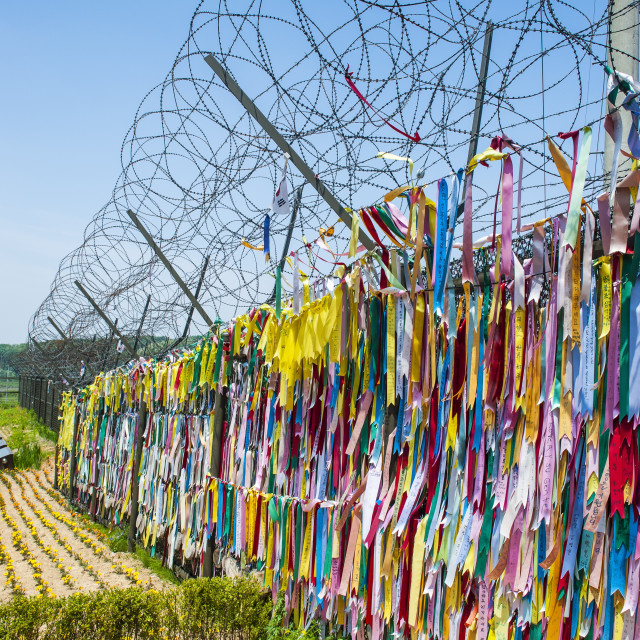 """Colourful ribbons at the high security border between South and North Korea,..."" stock image"