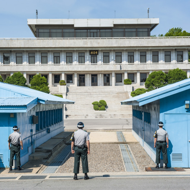 """""""The high security border between South and North Korea, Panmunjom, South..."""" stock image"""