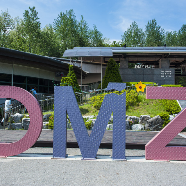 """Huge sign of the DMZ at the high security border between South and North..."" stock image"